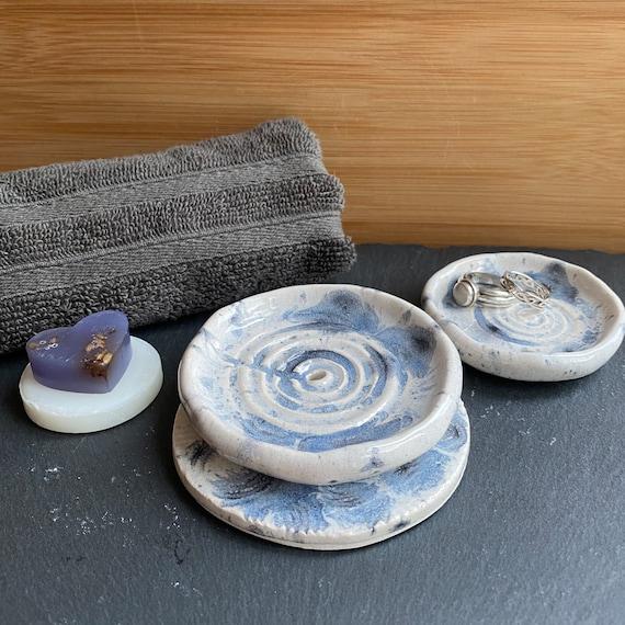 Ceramic Draining Soap Dish with Ring Dish Set, 'Achnabreac'