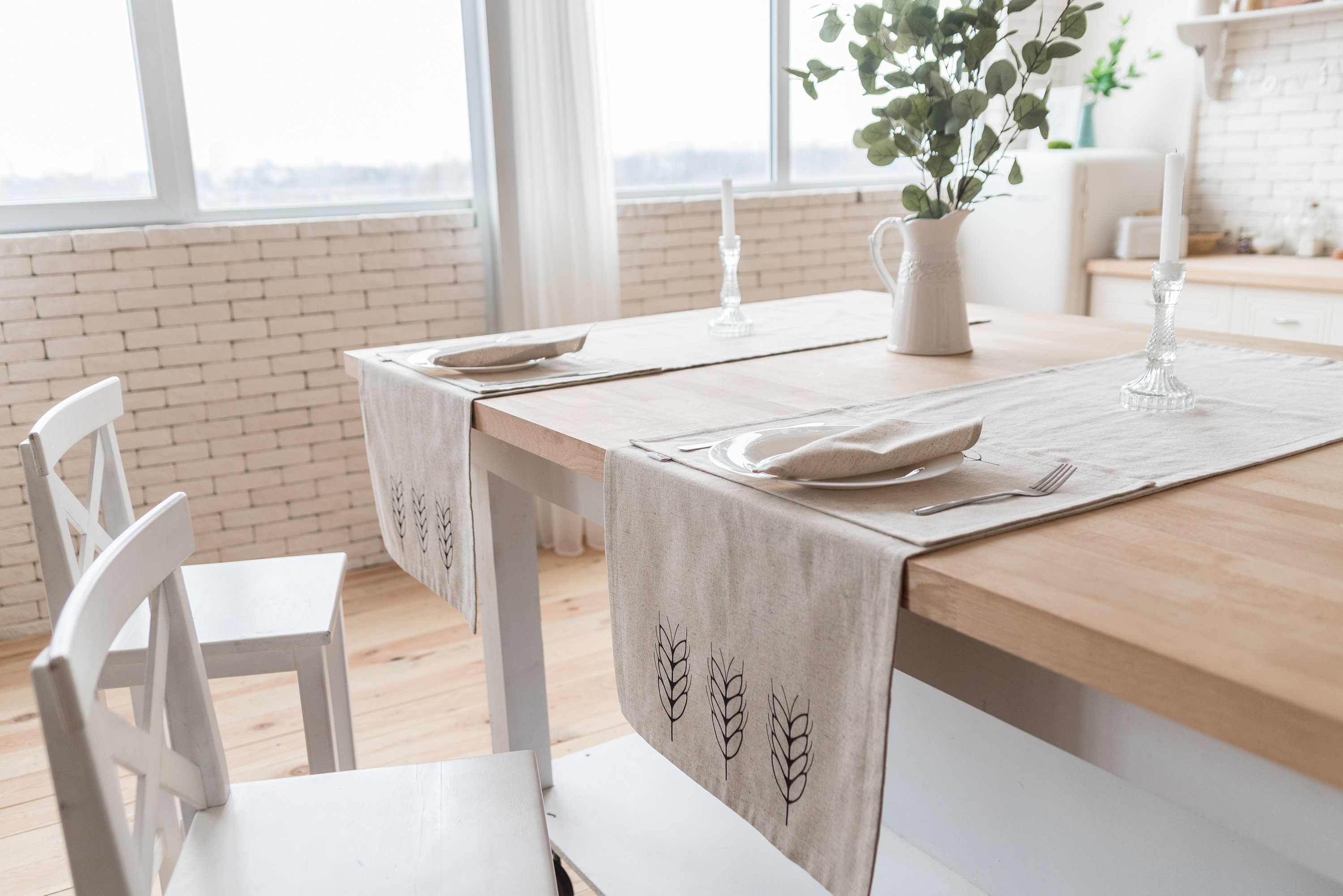 Merveilleux Hemp Table Runner With Spikelet Print. Kitchen Table Runner With Simple  Design Made With Natural Materials. Eco Runner For Home