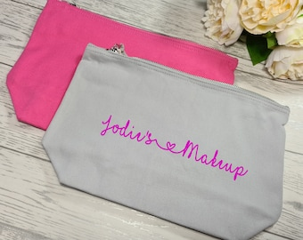 Personalised pink or grey canvas Large MAKEUP Accessory pouch bag add a name