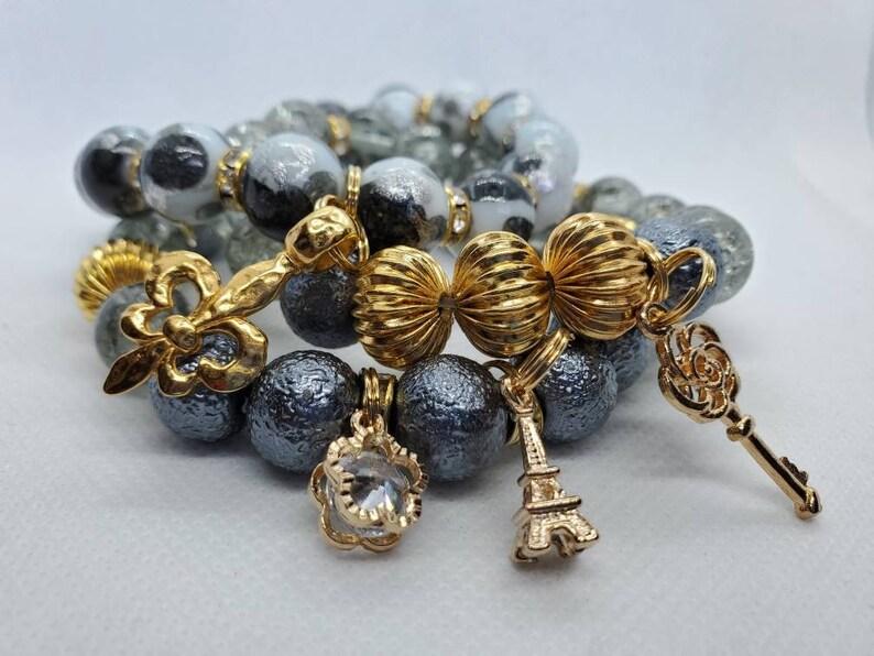 Handmade Jewelry Stretch Bracelets 7sixtyfivedesigns Gray /& Gold Bracelet Stack Beaded Bracelets Boho Jewelry Charm Bracelets