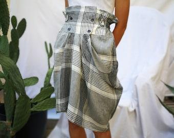 Sportmax Black and white linen madras wrapped skirt