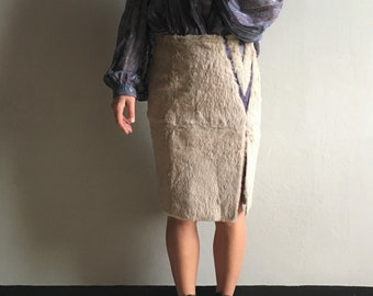 Vintage Versace beige lapin skirt with purple leather geometric detail