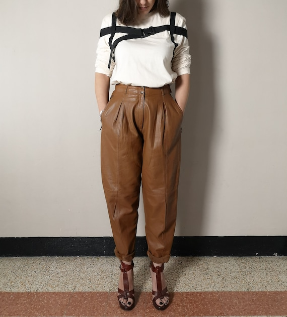 Vintage high waisted brown leather pants