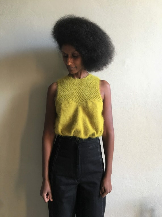 Vintage chartreuse mohair top, acid green soft woo