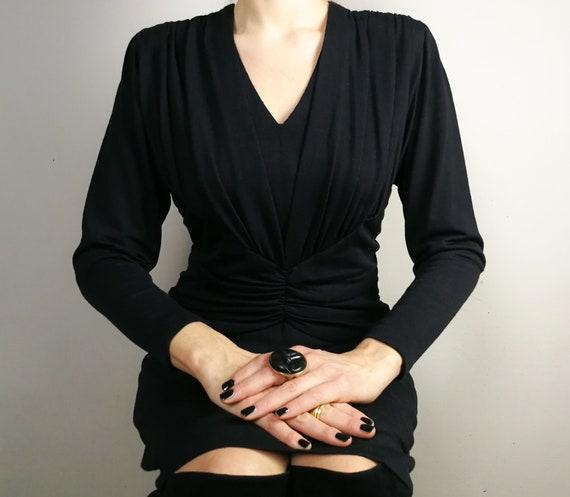 Wool jersey black draped dress