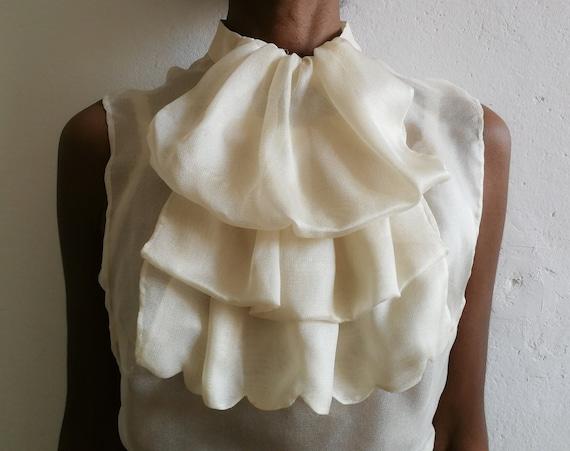 ARTISANAL ivory silk gauze under jacket top