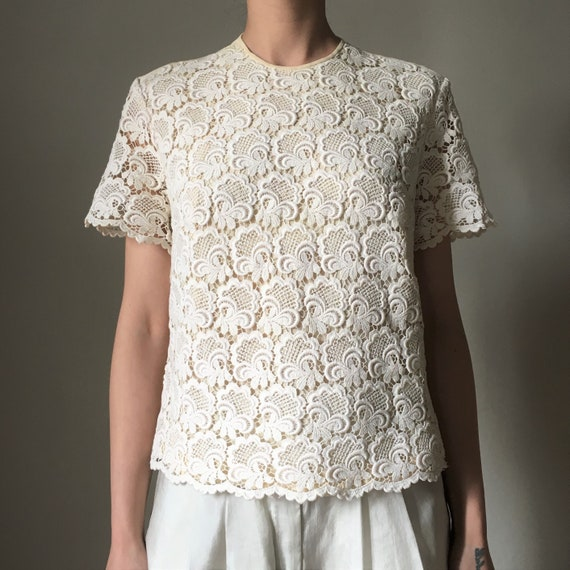 Cream white lace vintage blouse - image 5