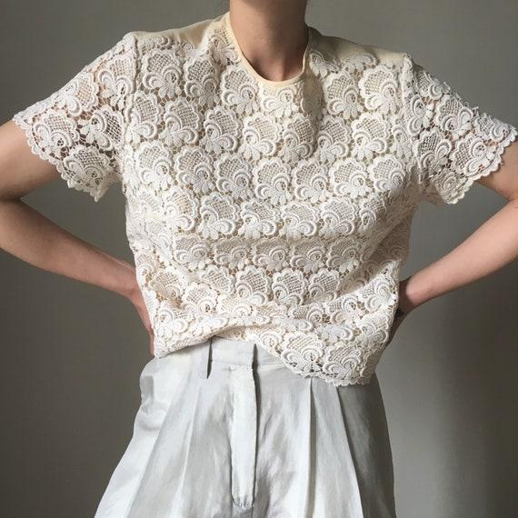 Cream white lace vintage blouse - image 2