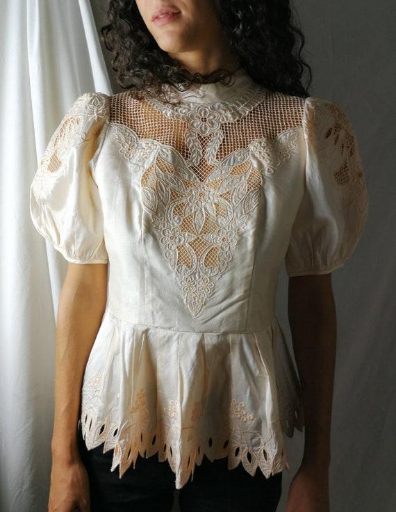 Powder pink silk/cotton shantung embroidered blous