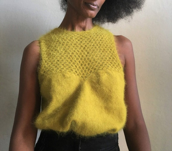 Chartreuse lime acid green mohair top, soft wool s