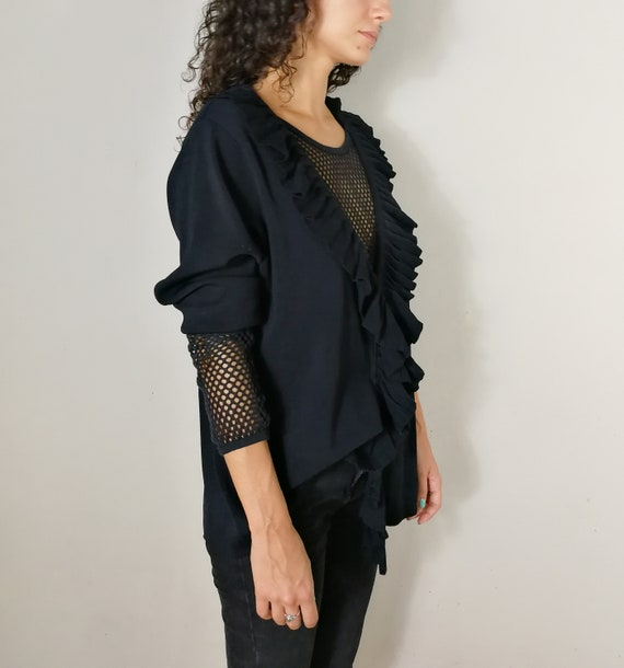 Black knitwear cardigan with ruffles - image 3