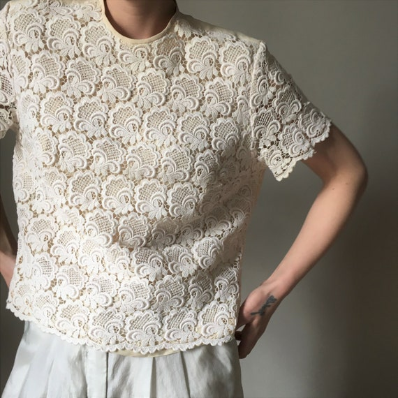 Cream white lace vintage blouse - image 7