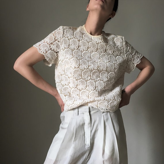 Cream white lace vintage blouse - image 1