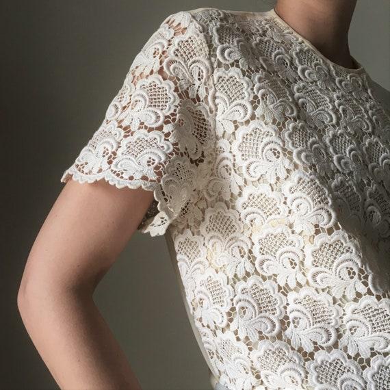 Cream white lace vintage blouse - image 9