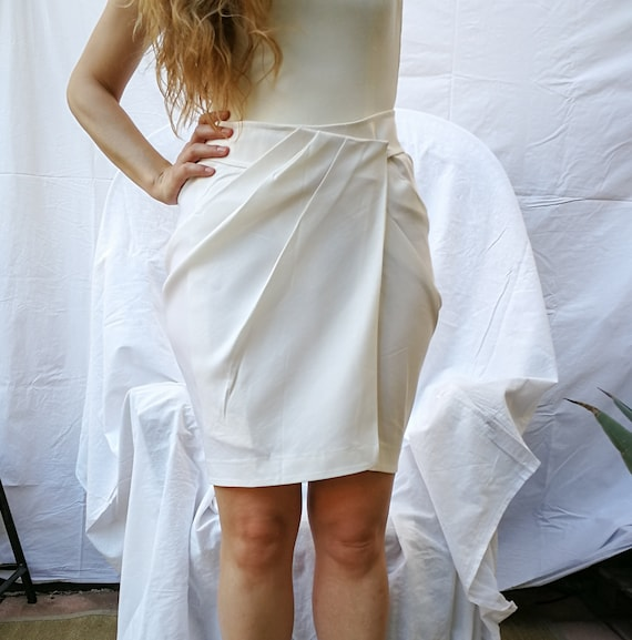 Stretch white silk satin wrapped skirt