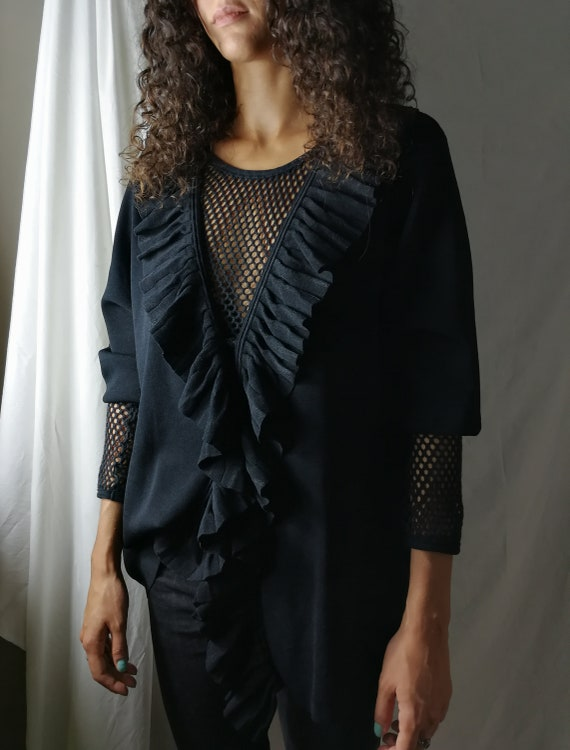 Black knitwear cardigan with ruffles