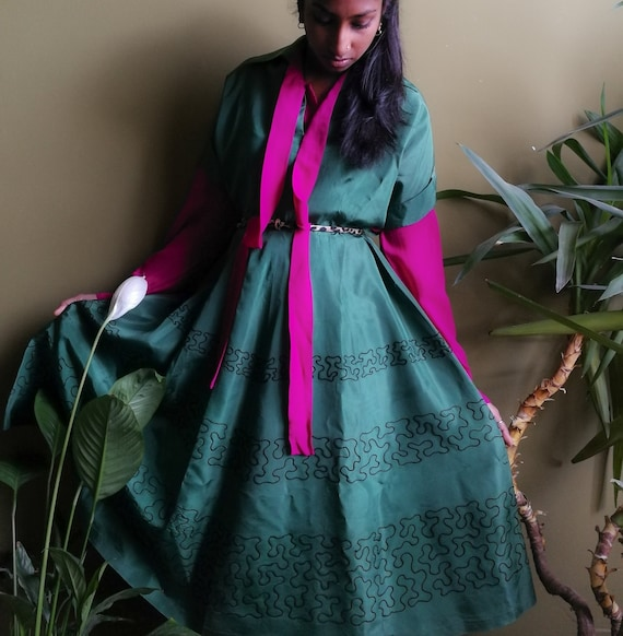 Vintage NEW 1950s full skirt green dress