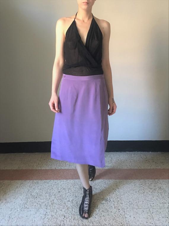 Vintage silk pastel lilac midi skirt