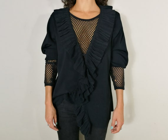Black knitwear cardigan with ruffles - image 2