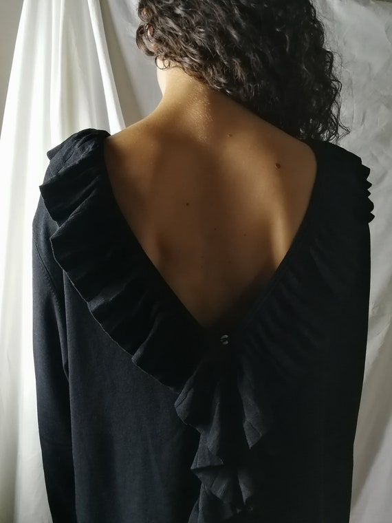 Black knitwear cardigan with ruffles - image 8