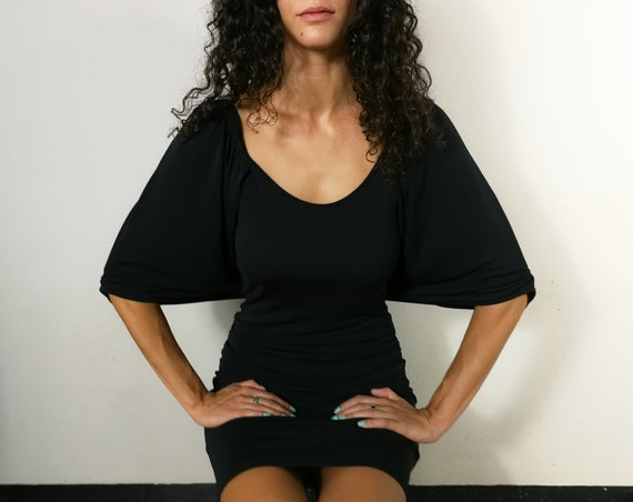 Black cape viscose jersey dress