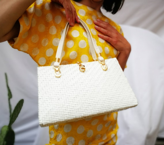 1960's White wicker purse