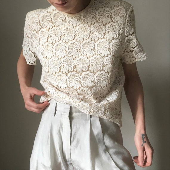 Cream white lace vintage blouse - image 3