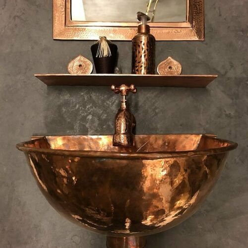 Copper wall mounter sink  ,with copper faucet ,shelf , mirror ,decoration complement for bathroom for sale