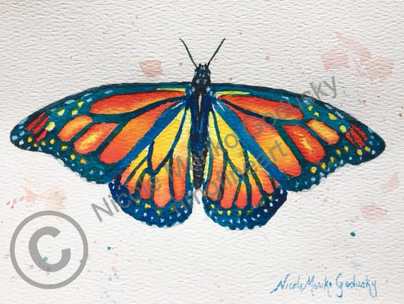 Papillon Monarque Aquarelle Originale Peinture A Laquarelle Etsy