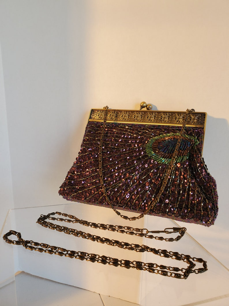 Vintage Beaded and Sequin Peacock Feather Purse