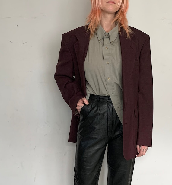 Wool Oversized Blazer, Oxblood