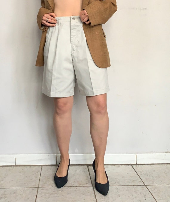 High Rise Pleated Cotton Shorts