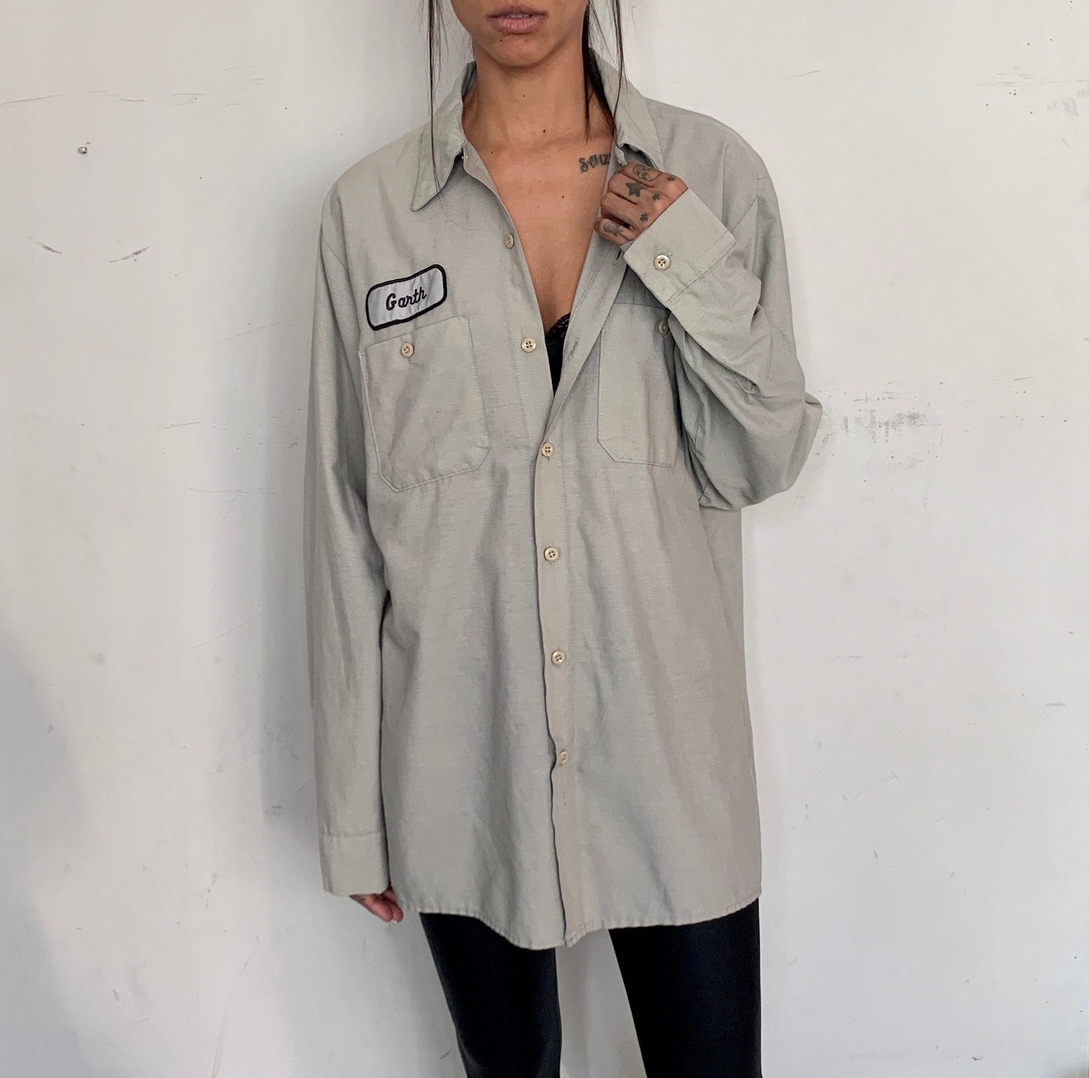 80s Tops, Shirts, T-shirts, Blouse   90s T-shirts Rare Distressed Work Shirt, Garth $95.00 AT vintagedancer.com