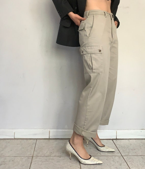 High Rise Beige Cargo Pants