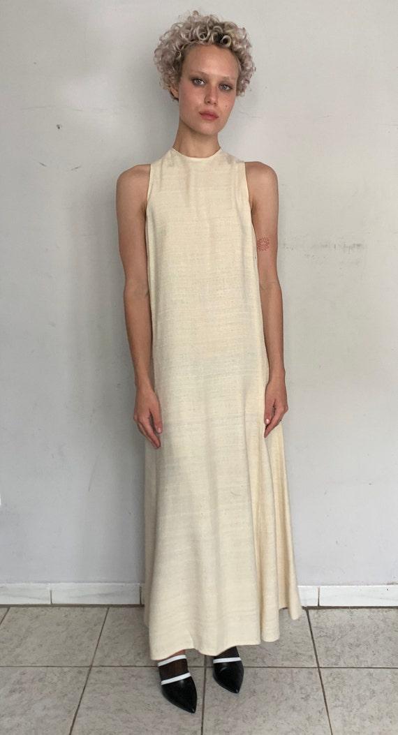 Raw Silk Cream Maxi Dress