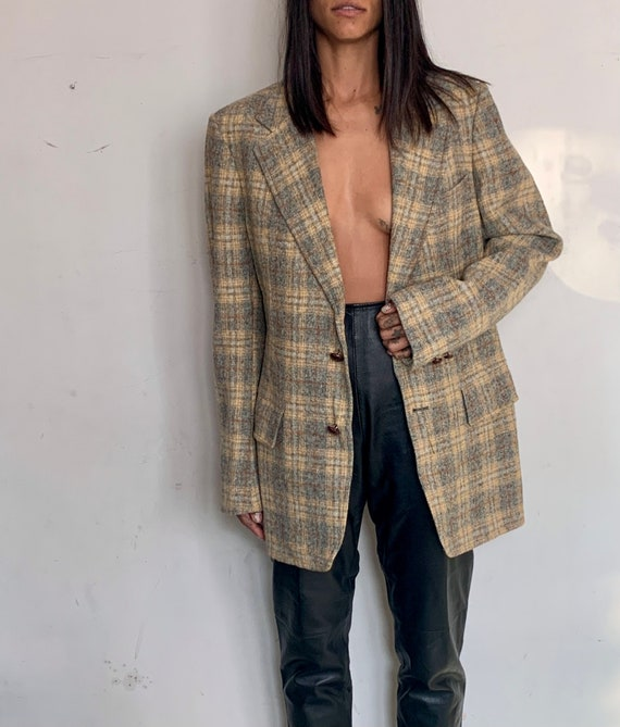 Wool Oversized Blazer, Grey Plaid