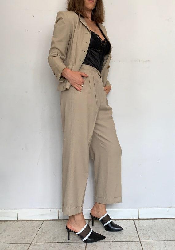 Beige Linen Safari Suit - image 5