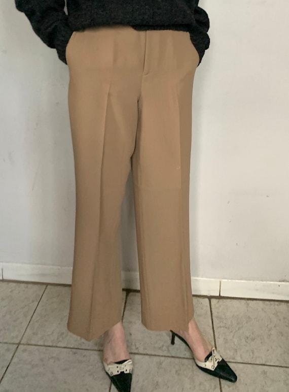 Beige Silk Trousers