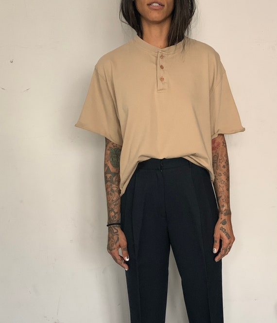 Custom Cropped Henley, Sand