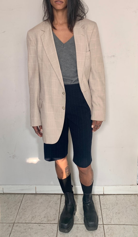 Raw Silk Oversized Blazer, Cream Plaid