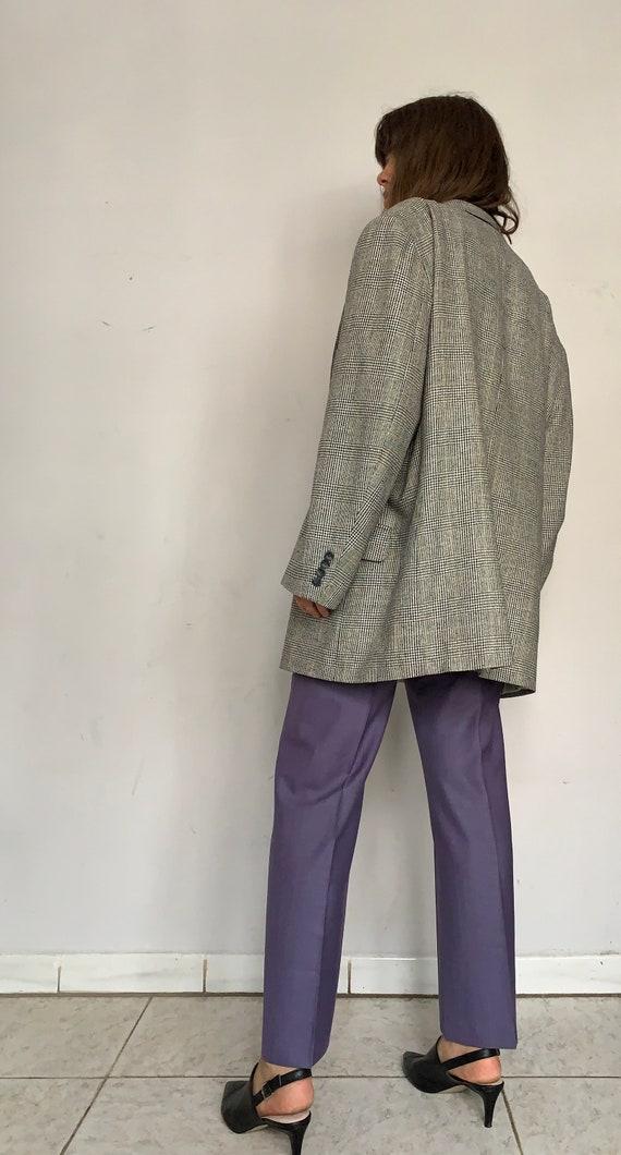 Raw Silk Oversized Blazer, Herringbone