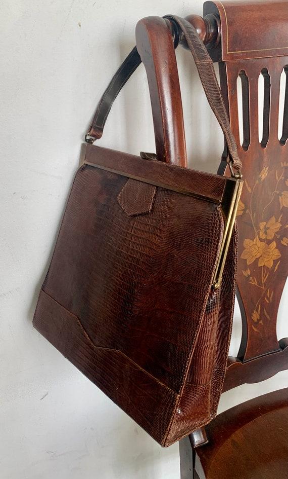 1930s Lizard Handbag, Cinnamon