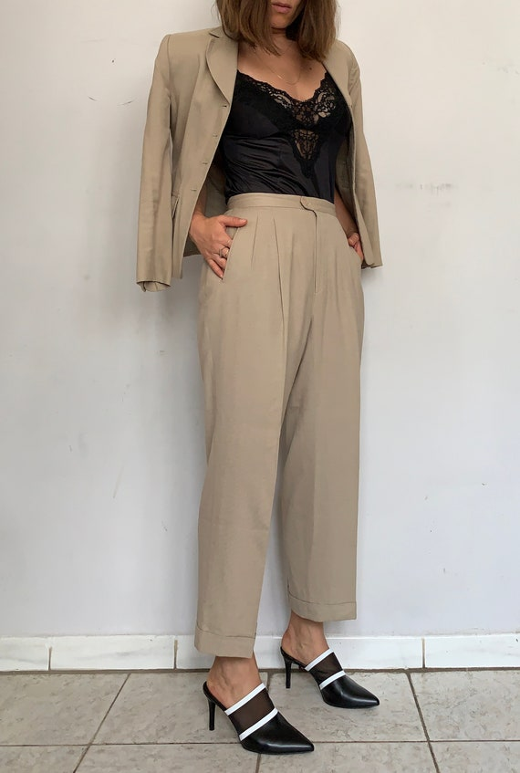 Beige Linen Safari Suit - image 4