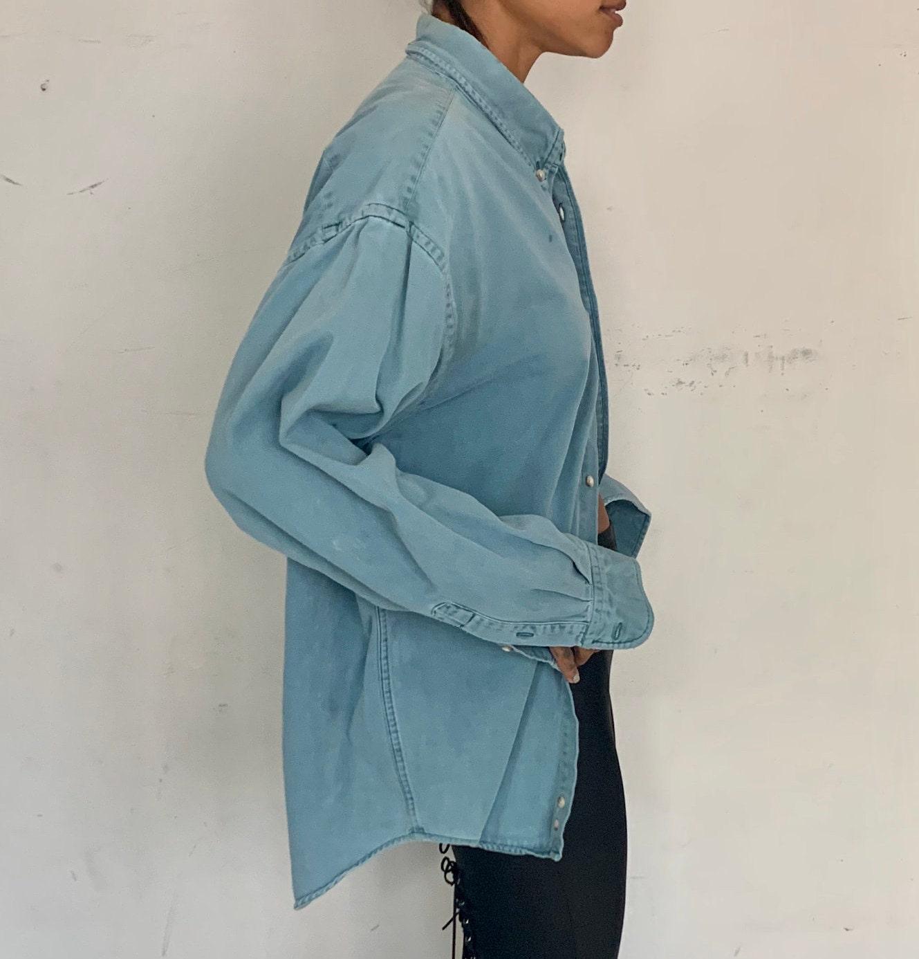 80s Tops, Shirts, T-shirts, Blouse   90s T-shirts Oversized Worn Work Shirt, Blue Denim $98.00 AT vintagedancer.com