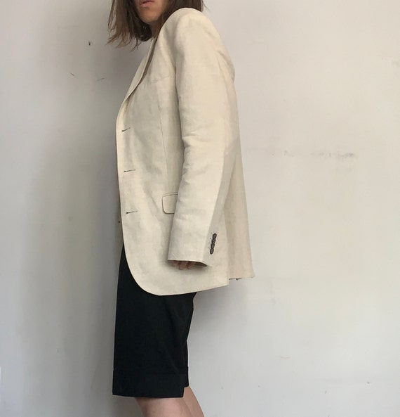 Linen Oversized Blazer, Cream