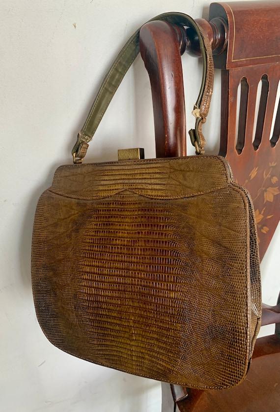 1930s Lizard Handbag, Coffee