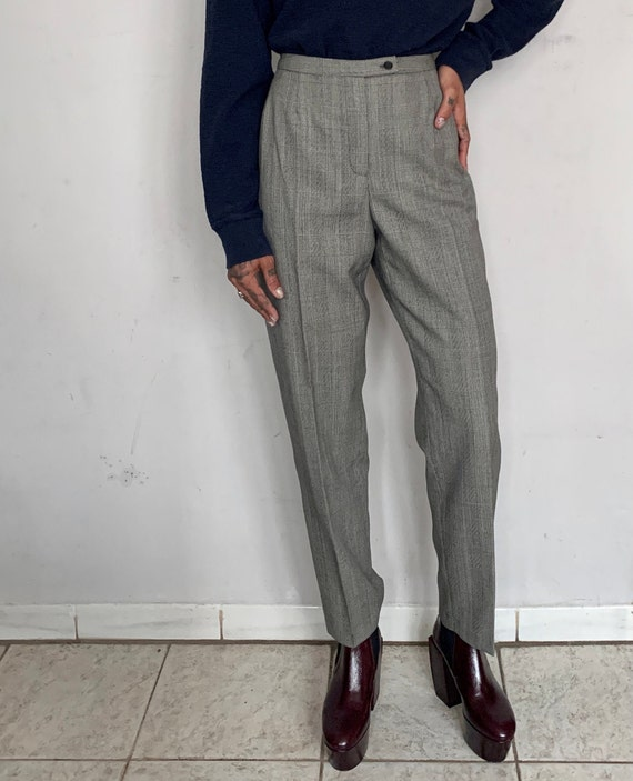 High Rise Wool Trousers, Grey Multi Pattern