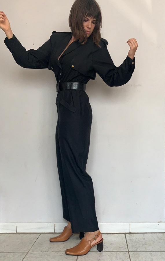 Silk Military Style Jumpsuit