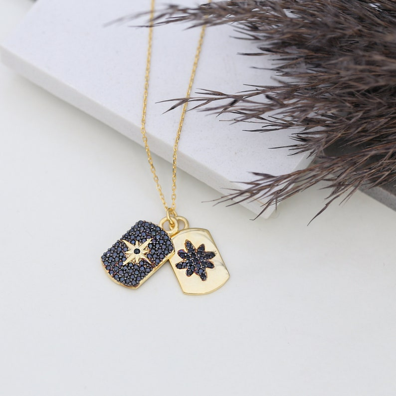 Sterling silver necklace perfect gift for your girlfriend or bridesmaids! Dainty Design Black Zircon Two Charm Necklace mom