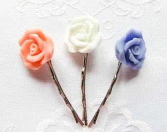 Matte Rose Hair Pins, Flower Hair Pins, Rose Bobby Pins, Flower Bobby Pins, Matte, Hairpins, Bobby Pins